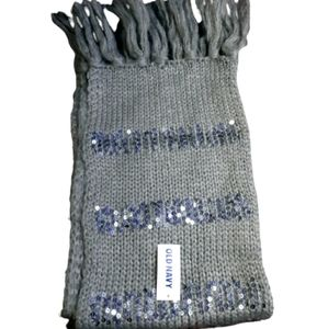 Old Navy Gray Silver Sequin Scarf
